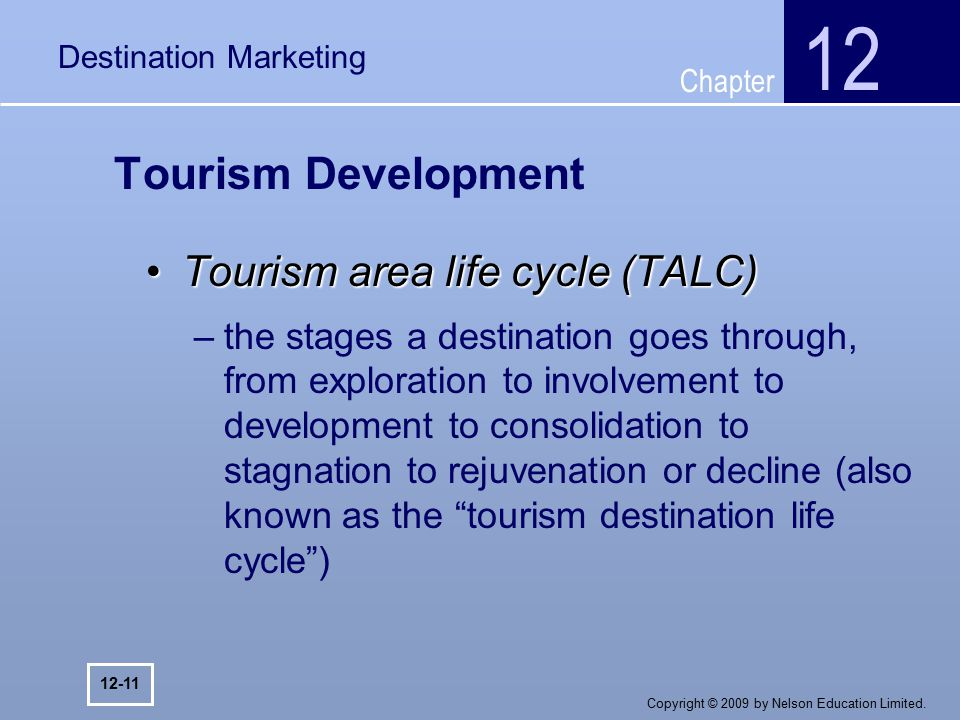 destination life cycle Think about it 1 attempt the exercises below 2 using the graph judge how well blackpool fits the tourism life cycle model: butler proposed that most tourist resorts go through a six stage model and he called this the tourism life cycle model it states that most tourist resorts start on a very small scale and get bigger and bigger until stagnation occurs.