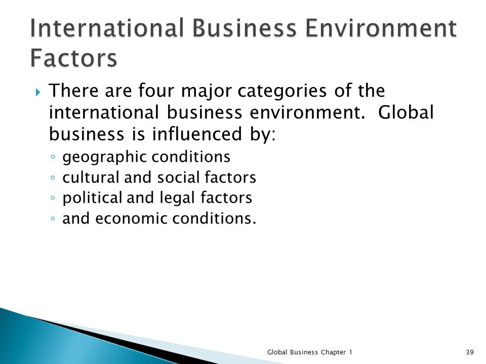 "influential factors of international business and This is ""factors that influence public policy  the operating context of sustainable business  either directly or indirectly by being influential in shaping."