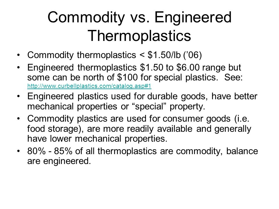 Commodity vs. Engineered Thermoplastics
