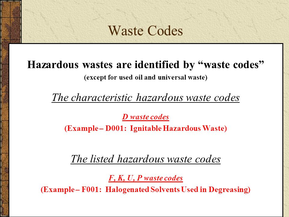 Characteristic Hazardous Waste