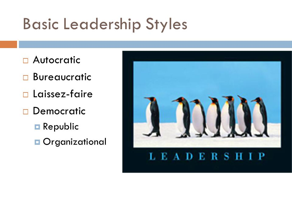 basic leadership styles As leadership expert warren whether you want to end procrastination or become more sociable, it's possible to change basic elements of yourself subscribe issue a recent study looked at what types of people and what aspects of workplace culture and leadership style facilitate.
