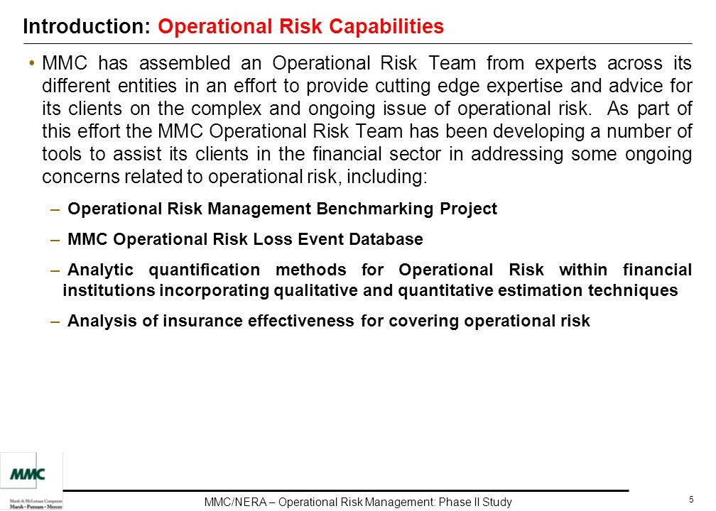 an evaluation of the financial and operational risk management within an organisation Independent corporate operational risk management function - responsible for the design, maintenance, and ongoing development of the operational risk framework within the firm this includes measuring and reporting of risks and challenging the output provided by the business lines.