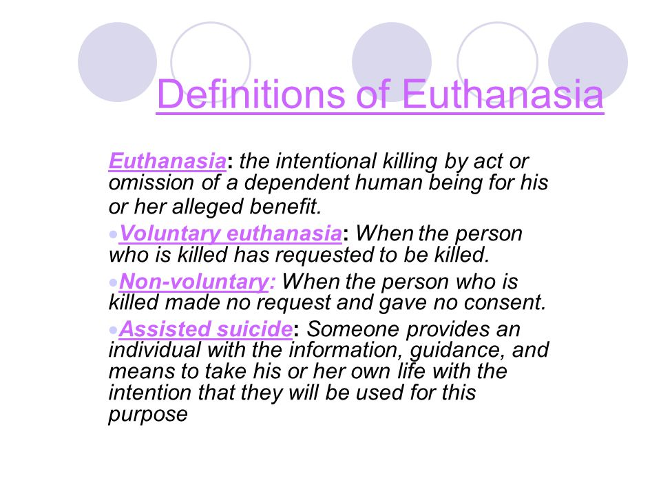 the definitions of euthanasia and assisted suicide Get equipped to take action on the issues of assisted suicide and stay informed on the euthanasia debate: what is euthanasia what is the christian view on euthanasia.