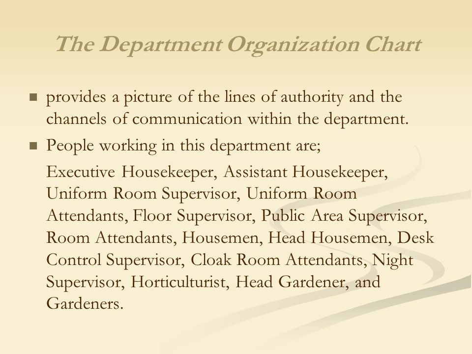 Planning and organizing the housekeeping department ppt video the department organization chart altavistaventures Choice Image