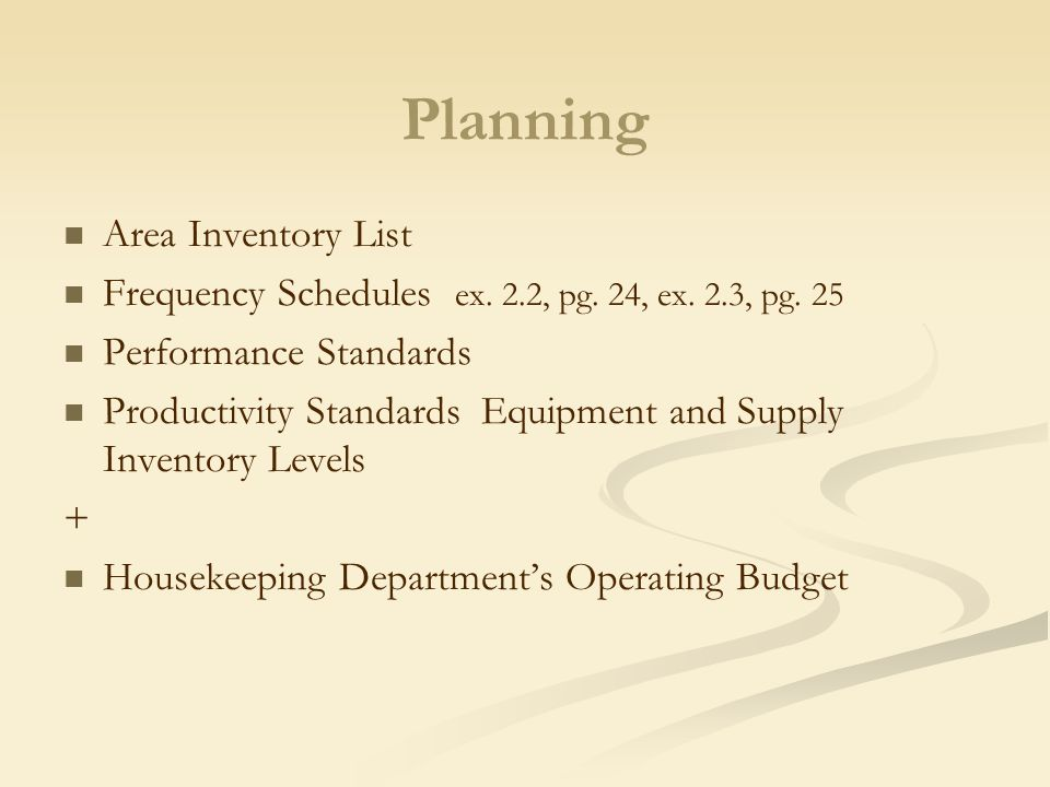 Planning Area Inventory List. Planning and Organizing the Housekeeping Department   ppt video