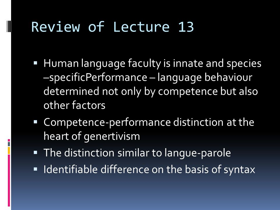 Review of Lecture 13