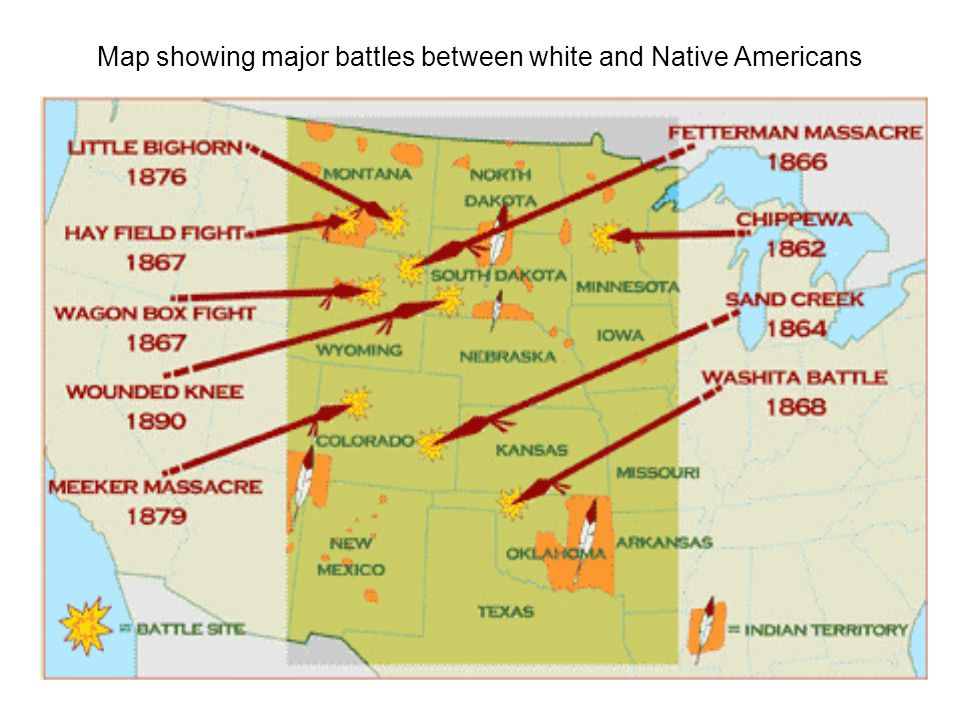 map showing major battles between white and native americans