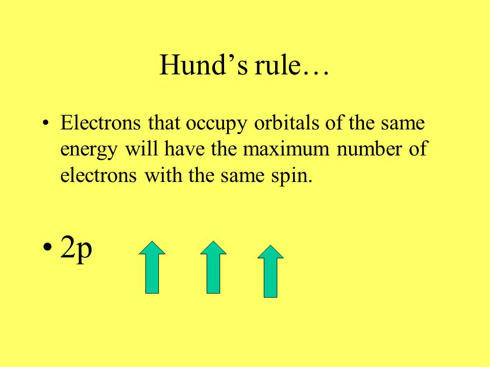 Hund's rule… Electrons that occupy orbitals of the same energy will have the maximum number of electrons with the same spin.