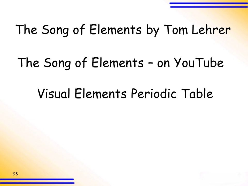 Periodic table the elements of the periodic table song lyrics electronic configurations ppt download periodic table the elements of the periodic table song lyrics urtaz Image collections