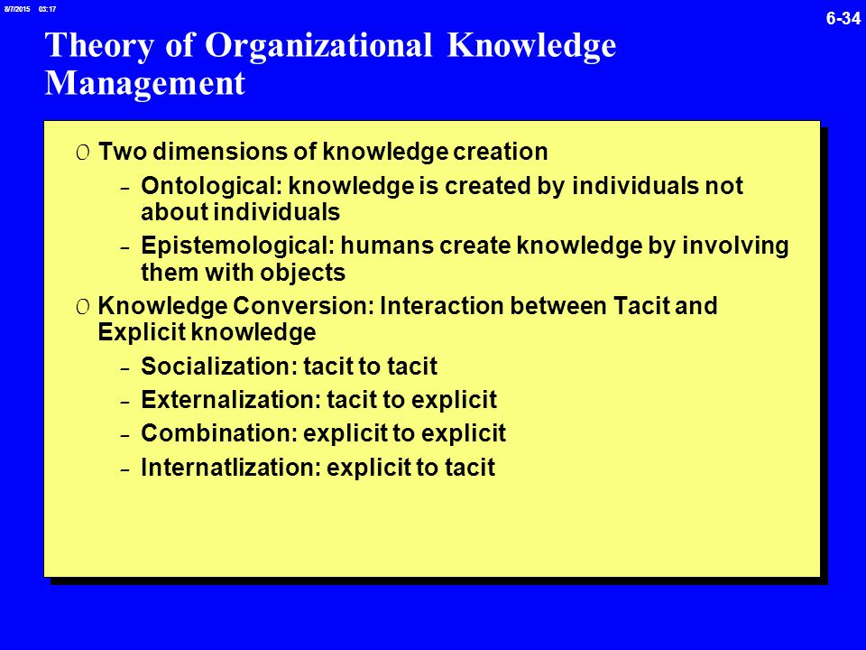 social technical theory in knowledge management Building a framework for knowledge management on a social was expanded and explained by further underlying theories based on antecedents of knowledge.