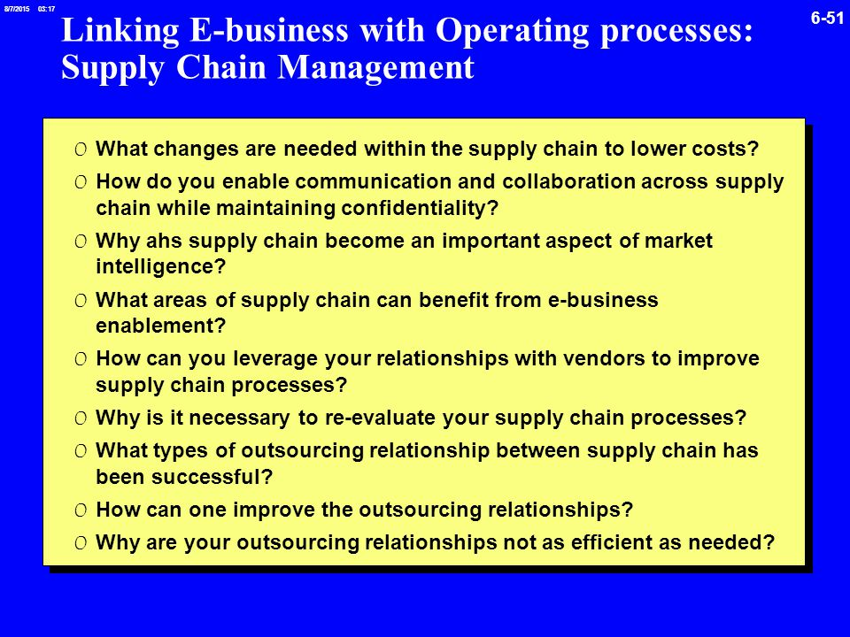 the importance of a supply chain management to the success of a business company Moreover, the single most important ingredient for successful supply chain management may well be trusting relationships among partners in the supply chain, where each party in the chain has confidence in the other members' capabilities and actions.