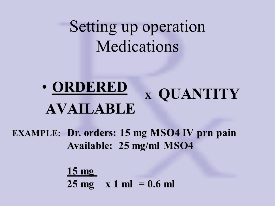 Setting up operation Medications