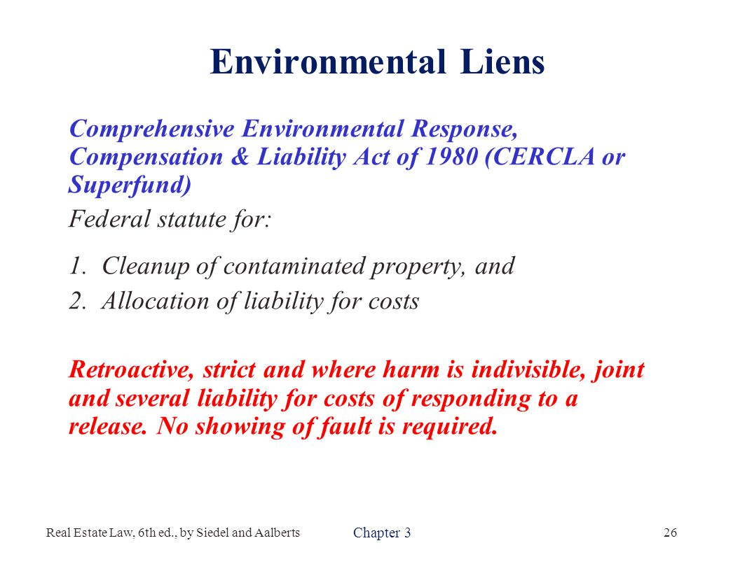 a description of cercla the comprehensive environmental response compensation and liability act Course description cercla (comprehensive environmental response, compensation, and liability act) is a law designed to remediate contamination from hazardous waste disposals that may endanger public health and the environment.