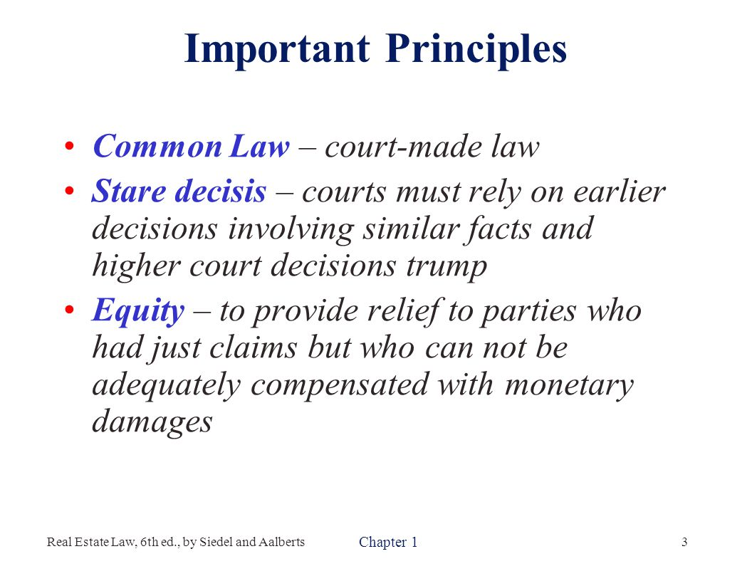 The Law Controlling Real Property Is
