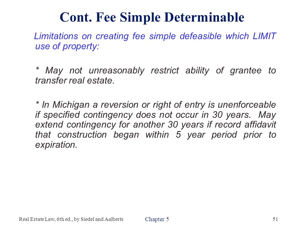 Real property fee simple determinable