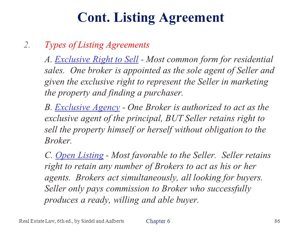 Real estate law 6th edition ppt download listing agreement platinumwayz