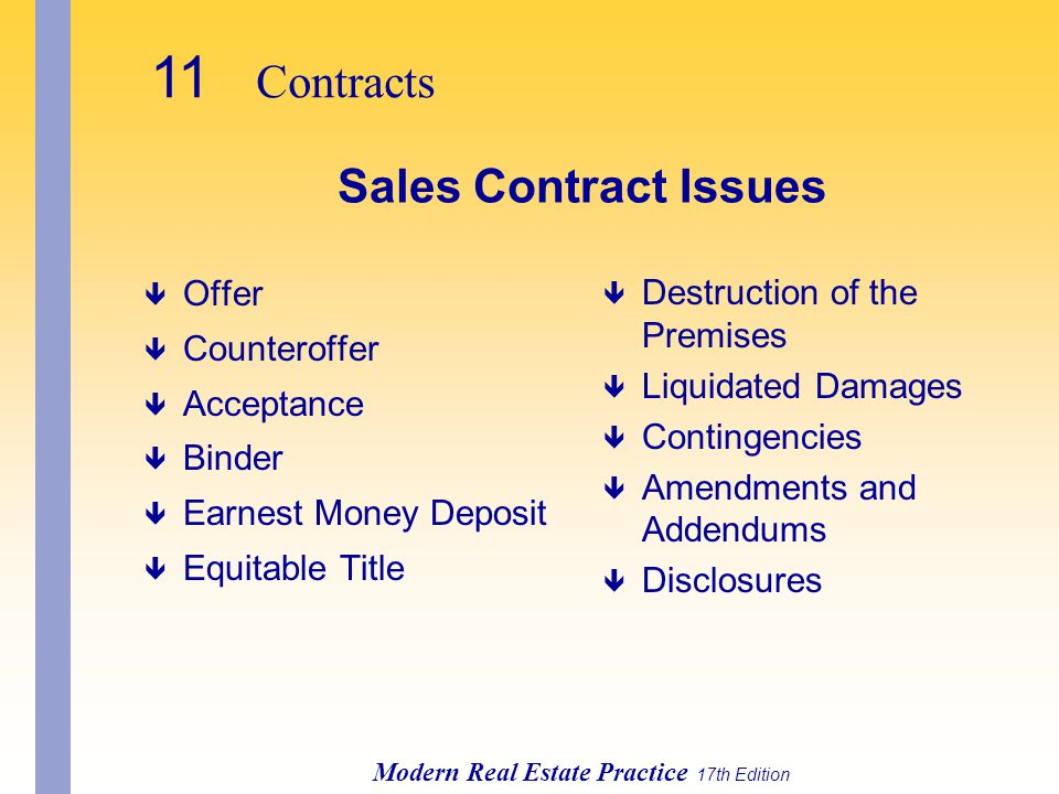 11 Contracts Sales Contract Issues Offer Counteroffer Acceptance