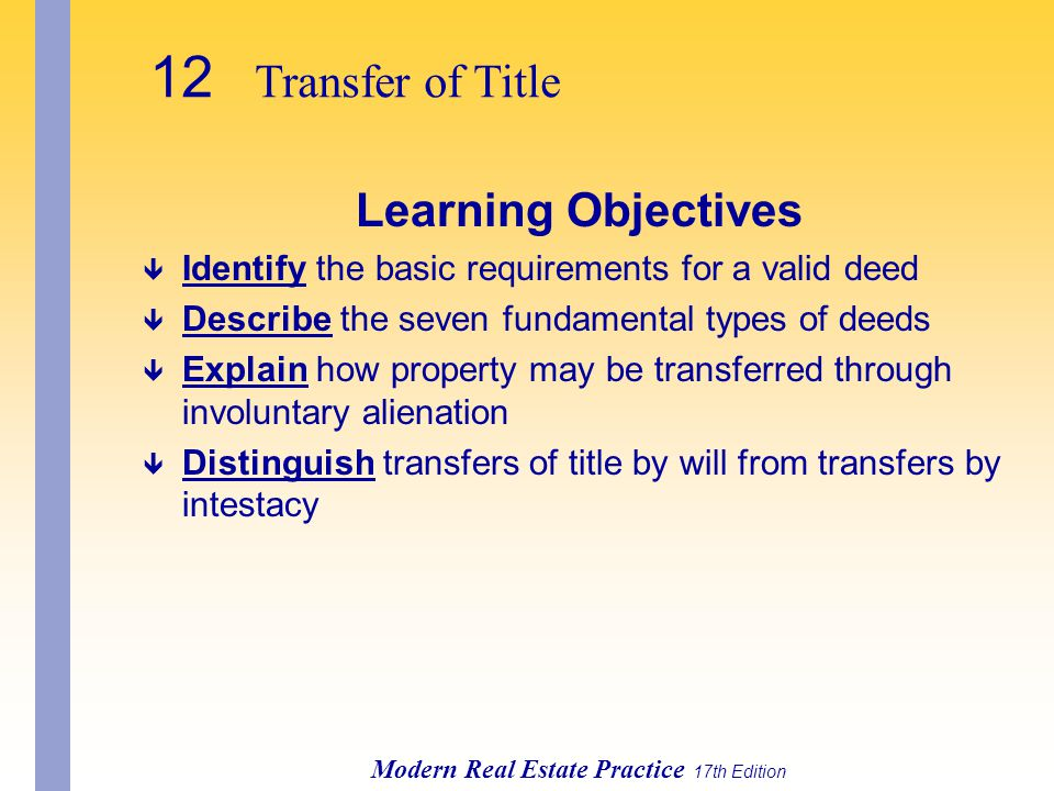 12 Transfer of Title Learning Objectives