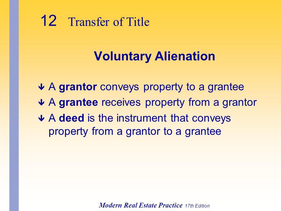 12 Transfer of Title Voluntary Alienation