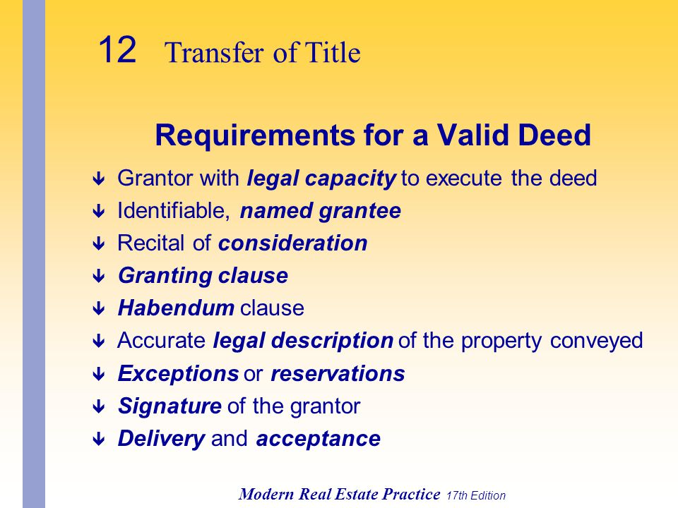 Requirements for a Valid Deed