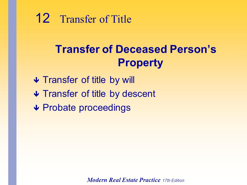 Transfer of Deceased Person's Property