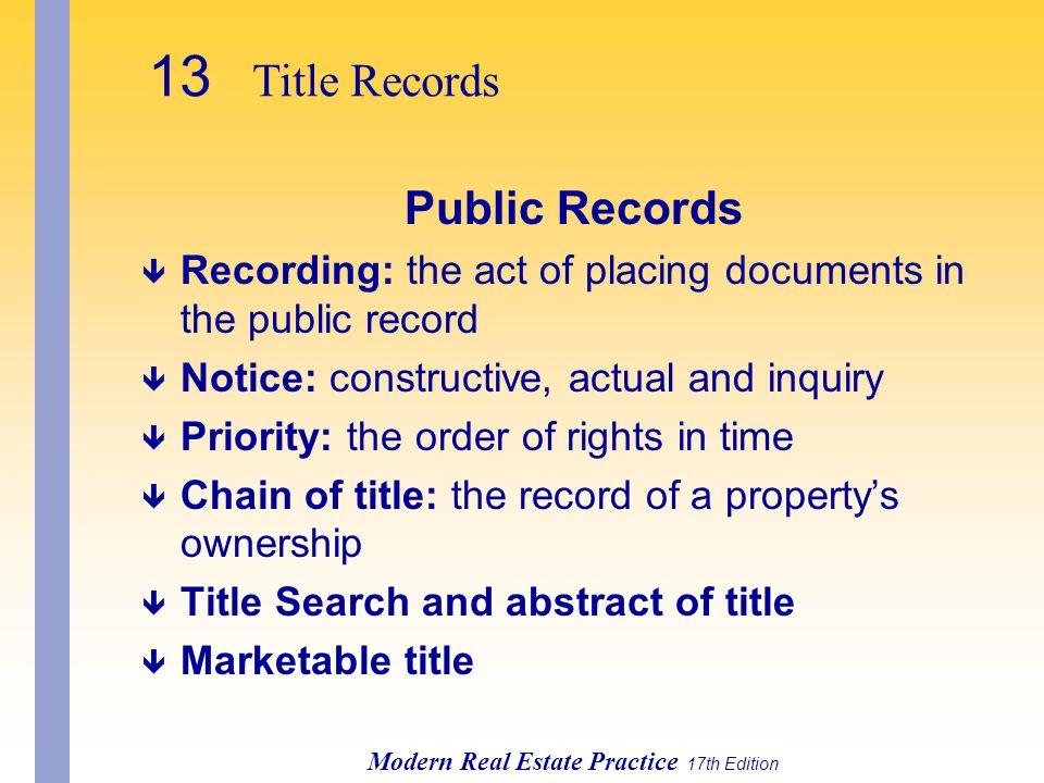 13 Title Records Public Records
