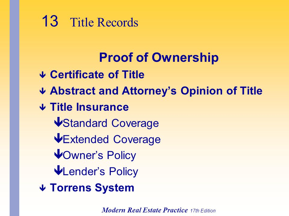 13 Title Records Proof of Ownership Certificate of Title