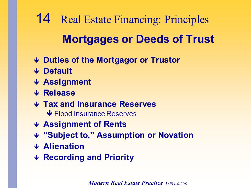 Mortgages or Deeds of Trust