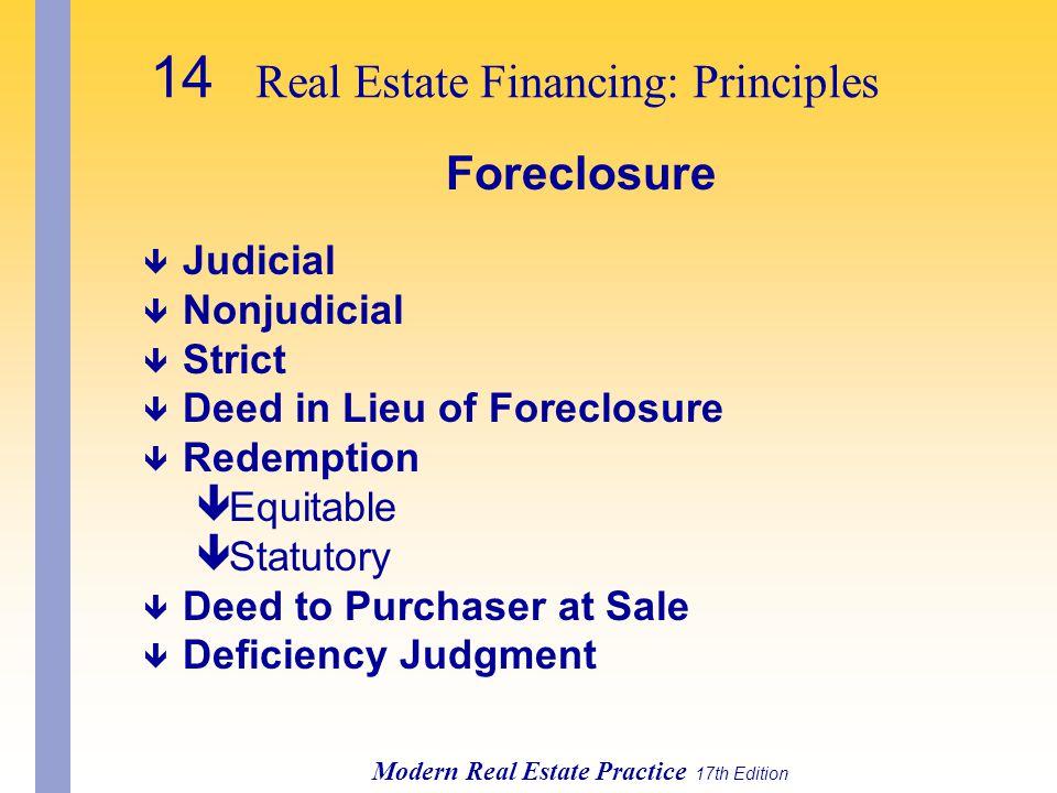14 Real Estate Financing: Principles