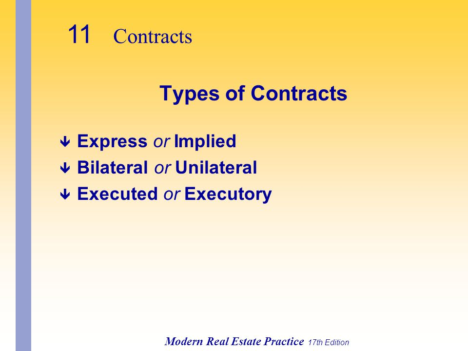 11 Contracts Types of Contracts Express or Implied