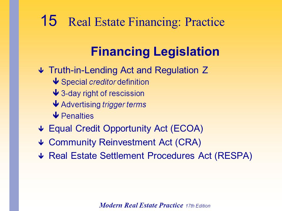 Financing Legislation