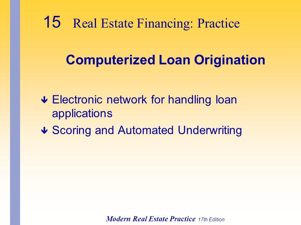 Computerized Loan Origination