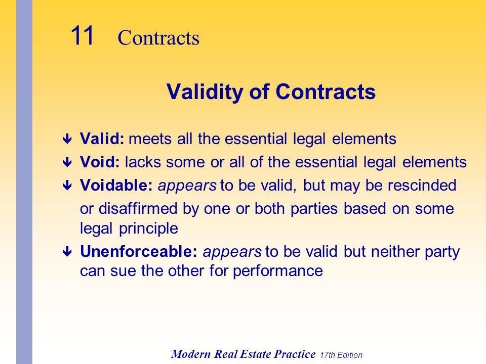 11 Contracts Validity of Contracts