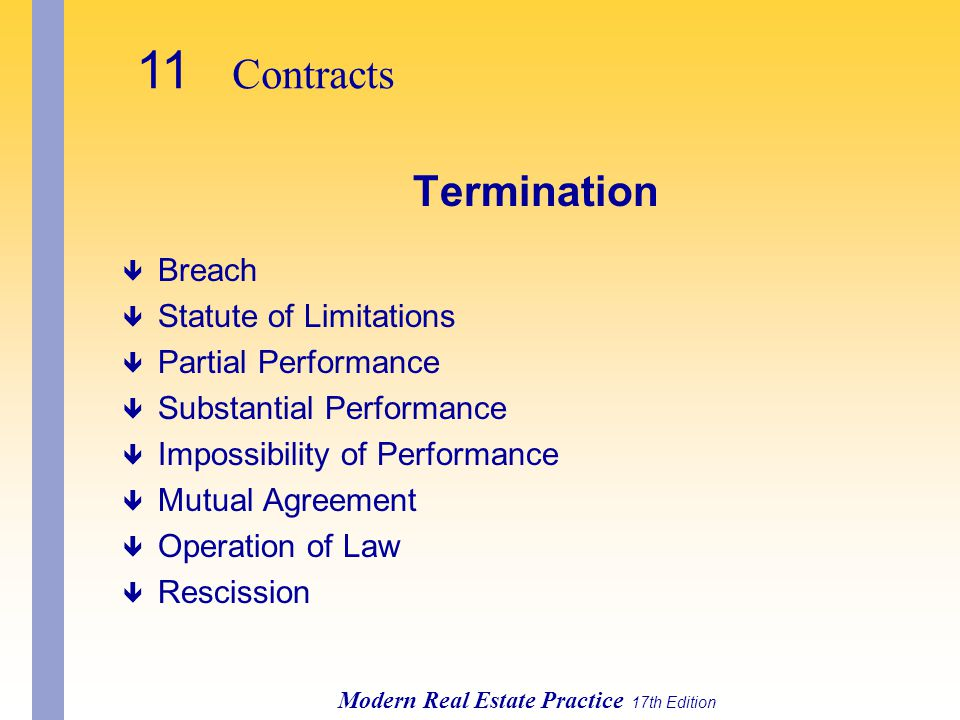 11 Contracts Termination Breach Statute of Limitations