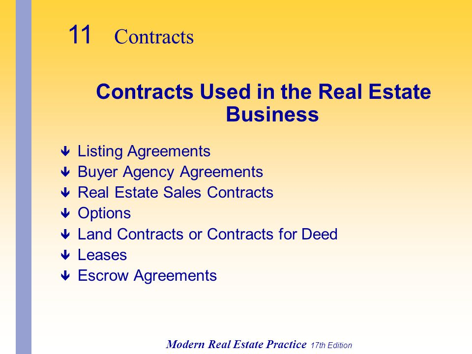 Contracts Used in the Real Estate Business