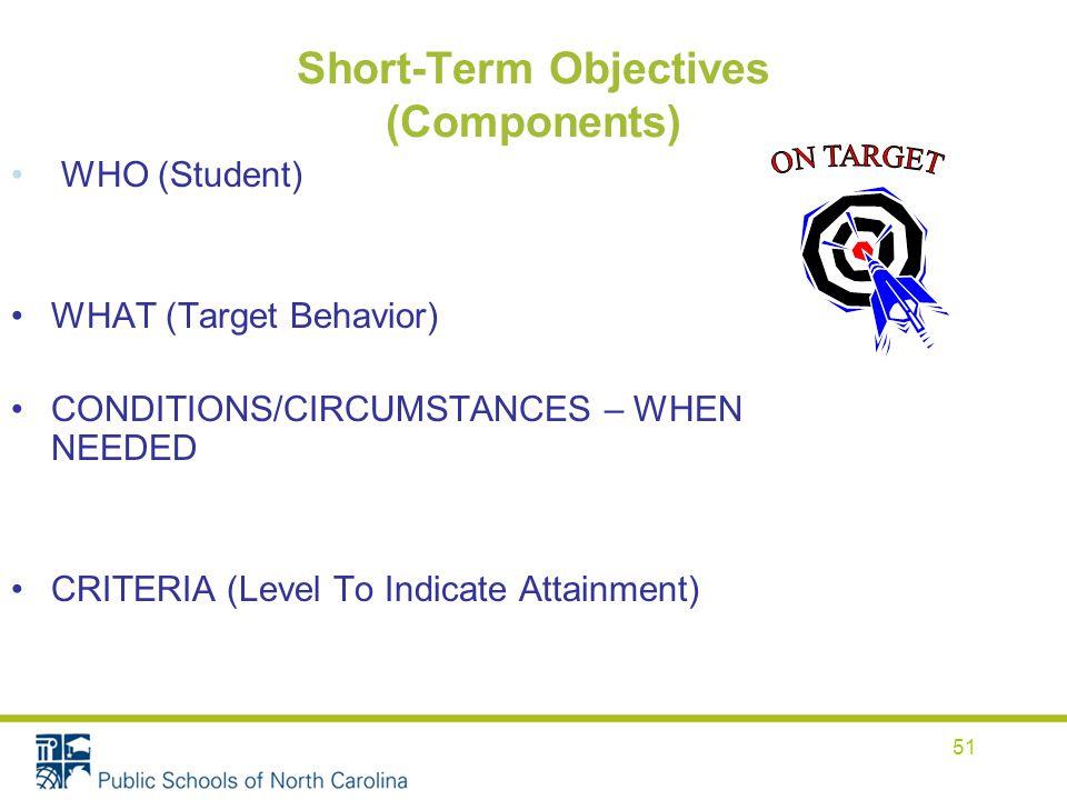 Short Term Objectives : The individualized education program iep development