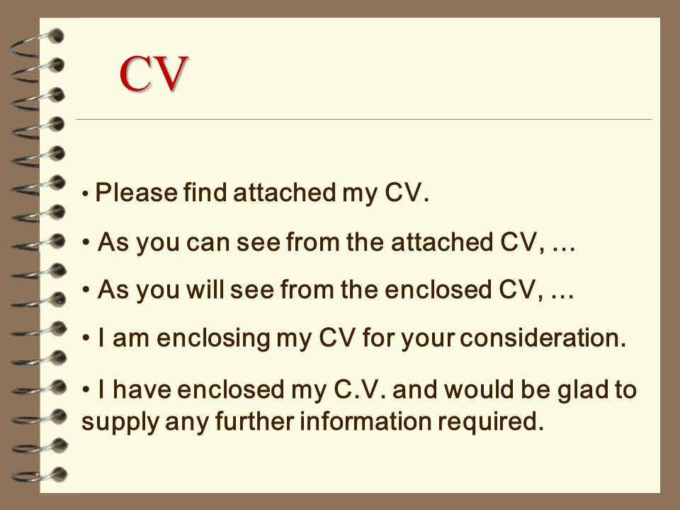 please find attached my cv