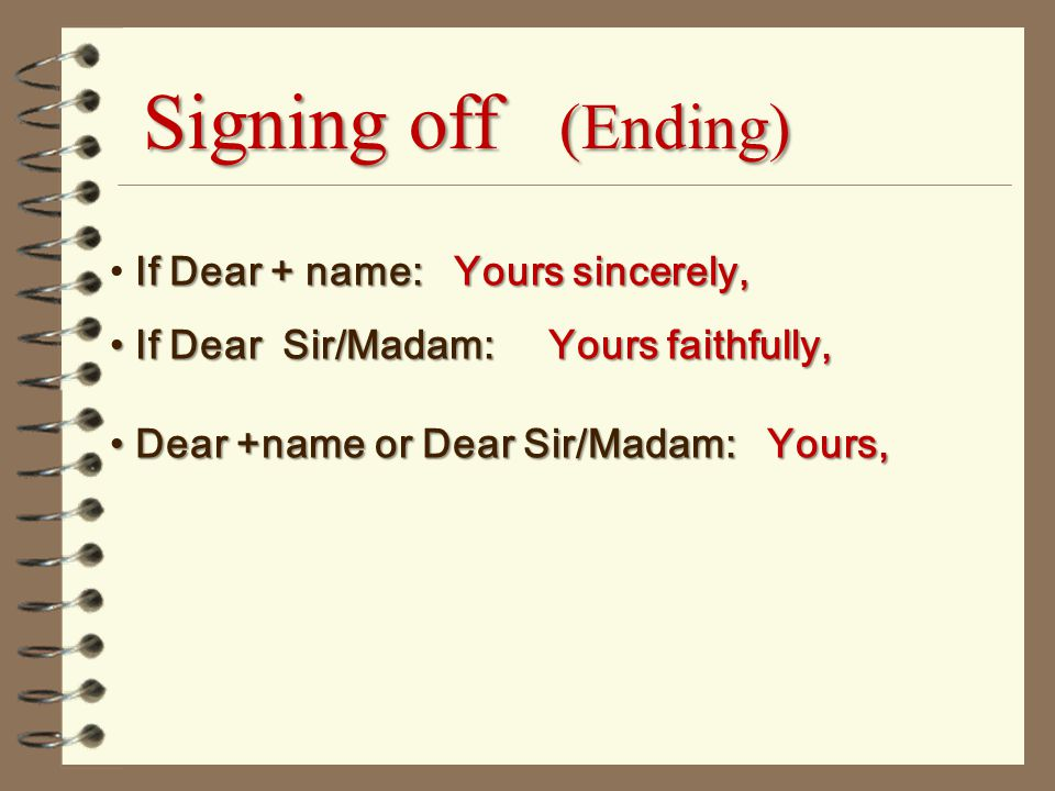 Formal letter format yours faithfully end a letter with sincerely sample closing business stopboris Image collections