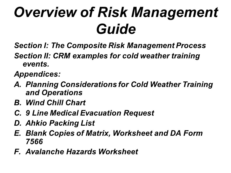 Cold Weather Risk Management ppt video online download – Composite Risk Management Worksheet