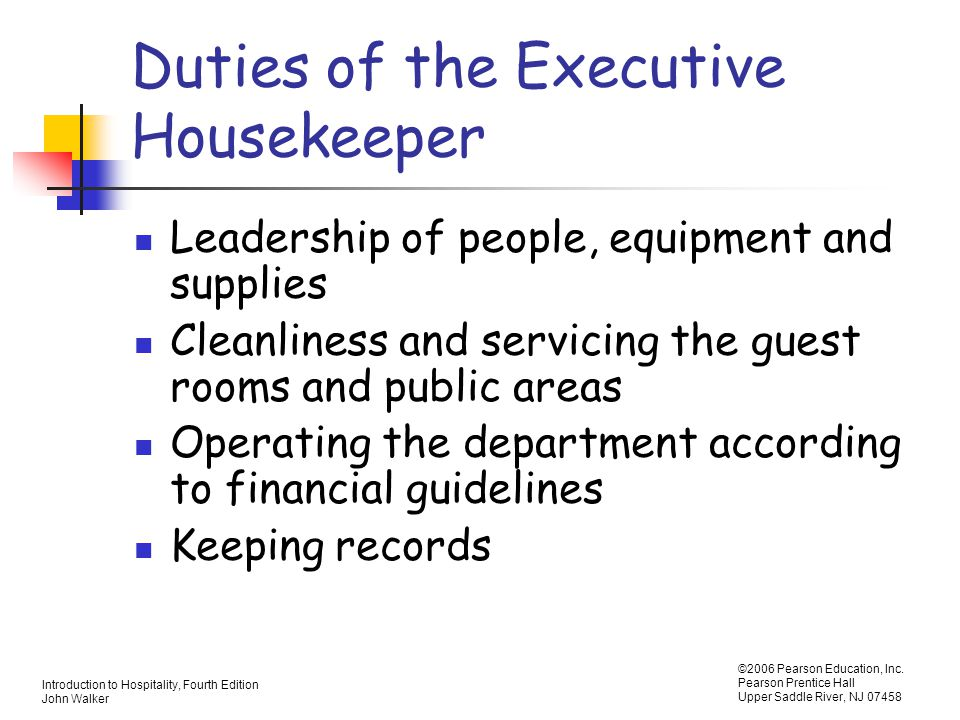 Duties Of The Executive Housekeeper  Duties Of A Housekeeper