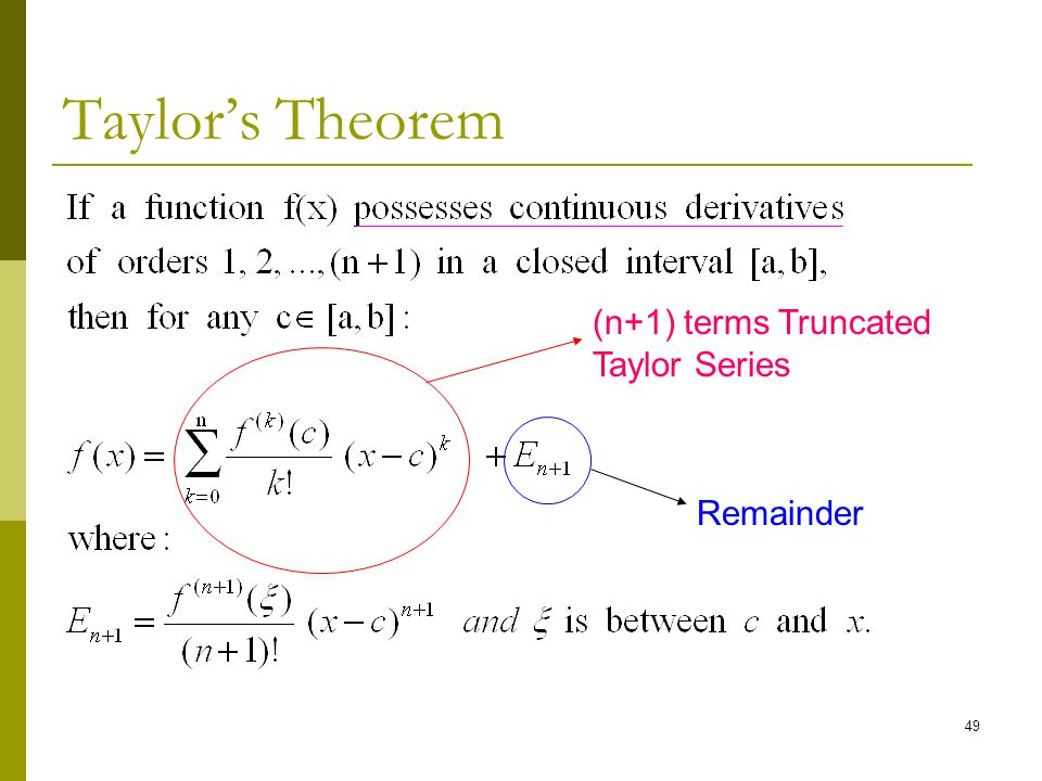 taylors theorem In calculus , taylor's theorem gives an approximation of a k-times differentiable function around a given point by a k-th order taylor polynomial  for analytic functions the taylor polynomials at a given point are finite order truncations of its taylor series , which completely determines the function in some neighborhood of the point.
