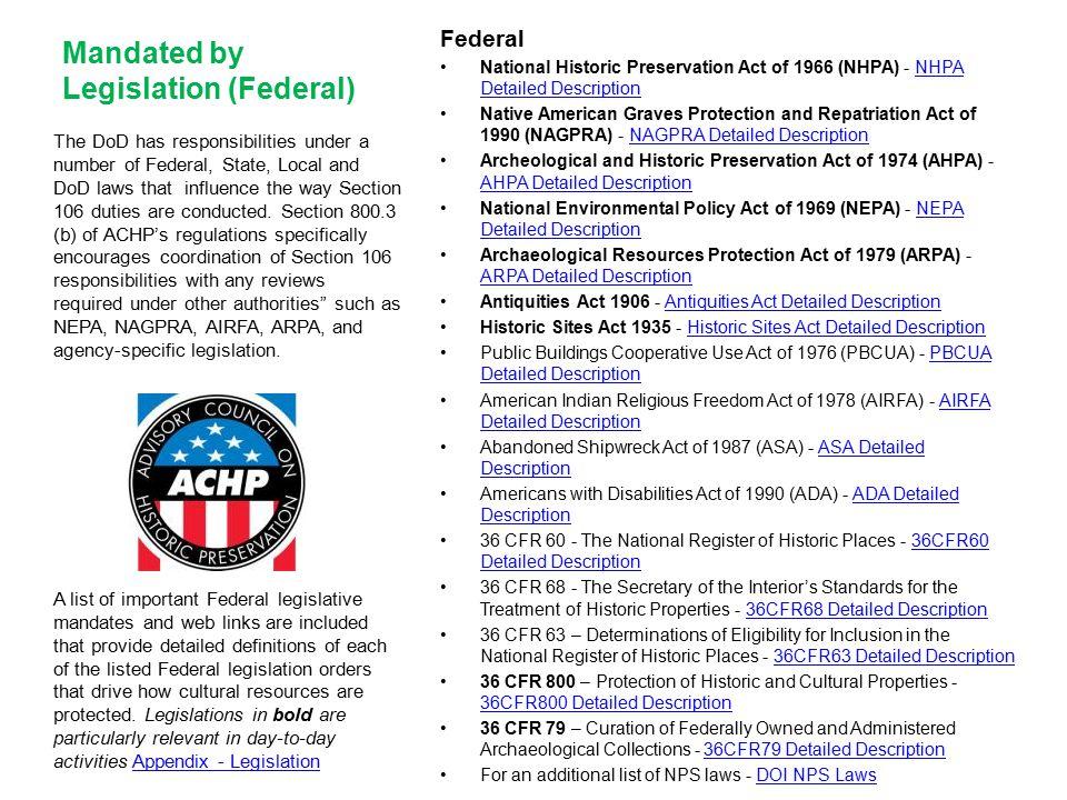Mandated by Legislation (Federal)