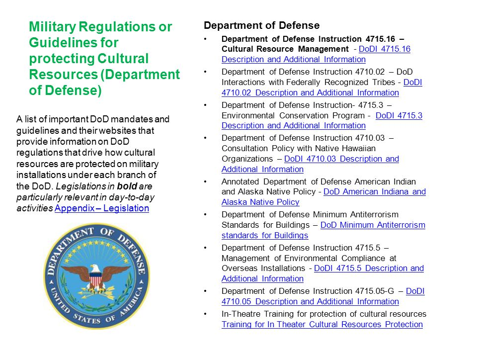 Military Regulations or Guidelines for protecting Cultural Resources (Department of Defense)