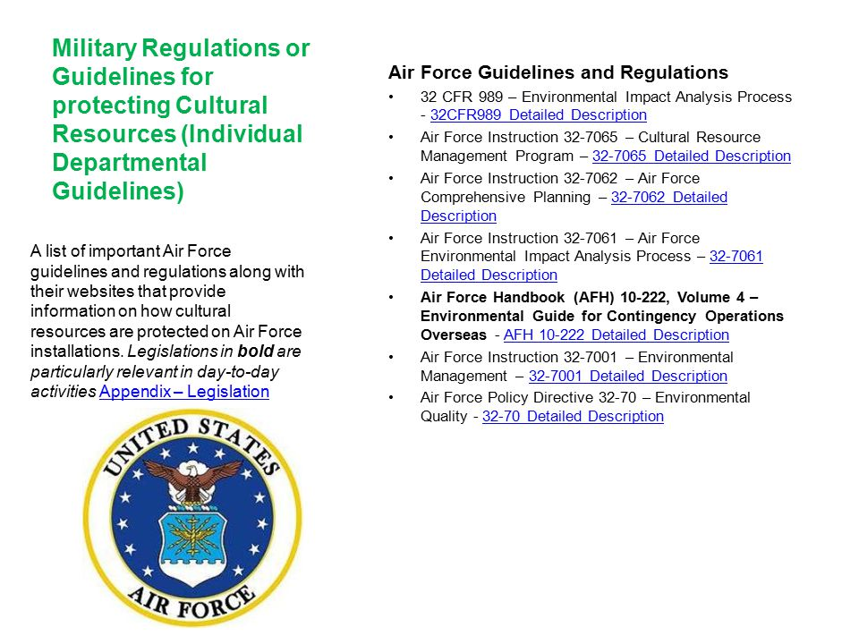 Military Regulations or Guidelines for protecting Cultural Resources (Individual Departmental Guidelines)