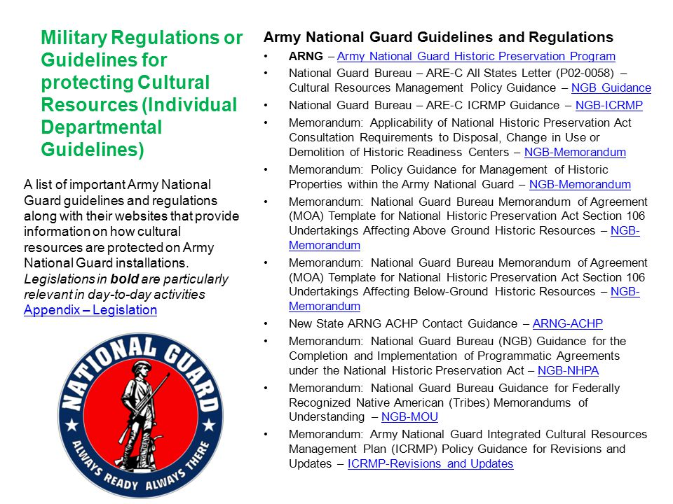 Army National Guard Guidelines and Regulations