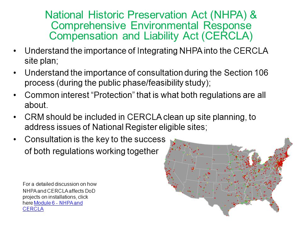 National Historic Preservation Act (NHPA) & Comprehensive Environmental Response Compensation and Liability Act (CERCLA)