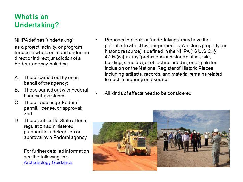 What is an Undertaking NHPA defines undertaking