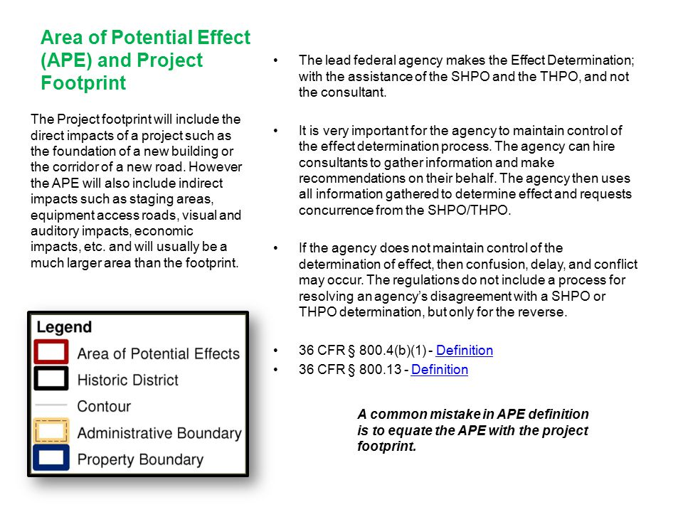 Area of Potential Effect (APE) and Project Footprint