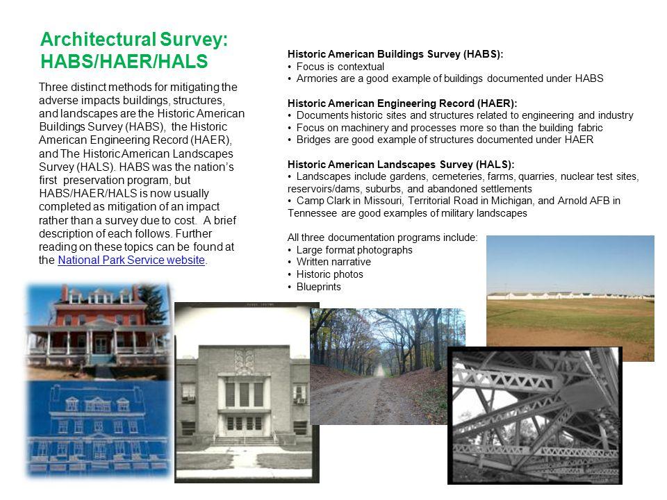 Architectural Survey: HABS/HAER/HALS