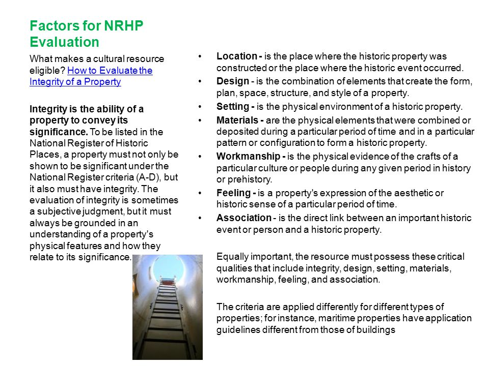 Factors for NRHP Evaluation